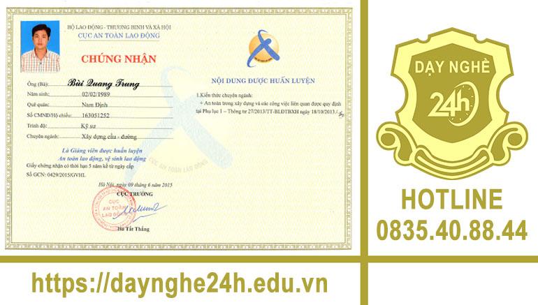 Đăng ký học và lấy chứng nhận giảng viên an toàn lao động - Điện thoại: 0835408844 – Zalo: 0835408844